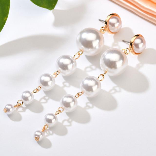 Simulated Pearl Stud Earrings Fashion Long