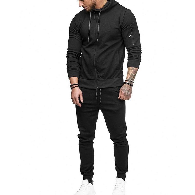 LAAMEI 2PCS Fashion Long Sleeve Solid Hoodies+Pants Set Male Tracksuit Outdoors Sport Suit Men's Gyms Set Casual Sportswear