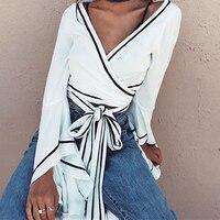Superior de La Venta de Primavera Verano Moda Mujer Blanco V Neck Lace Up Sexy Vendaje Manga de la Llamarada Crop Top de la Camisa