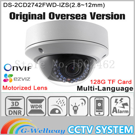 DHL Free shipping english version DS-2CD2742FWD-IZS Audio, POE 4MP WDR Vari-focal Motorized Lens Dome Network IP Camera free shipping in stock new arrival english version ds 2cd2142fwd iws 4mp wdr fixed dome with wifi network camera