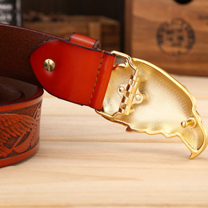 Image 5 - DINISITON Eagle head man belt The First Layer Genuine Leather Men belts Brand Cowskin Fashion Vintage Male Strap Ceinture ZPB01