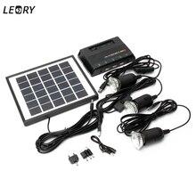 LEORY 5V 1000mAh Solar Energy Lamp LED Light Powered Energy 4W 6V Solar Camp Charger +3pcs 3.7V LED Light USB Charger