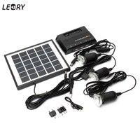 Leory 5ボルト1000 mahソーラーエネルギーランプledライト搭載エネルギー4ワット6ボルトソーラーキャンプ充電器+ 3ピース3.7ボルトledライトusb充電