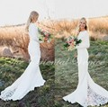 Vintage Lace Mermaid Bohemian Wedding Dress with Long Sleeves Court Train Country Gipsy Hippie Boho Wedding Dresses 2017