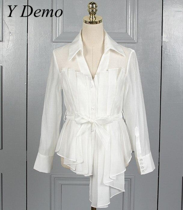 2018 Irregular Lace Long Sleeve Shirt White Ruffles Belt Turnidown Collar Blouses
