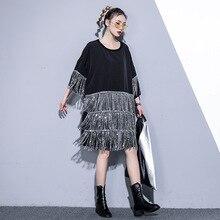 Women Oversized Bat Short Sleeve Sequins Tassels Spliced Loose Casual Dress Female Streetwear Punk Gothic Tshirt Black Dresses