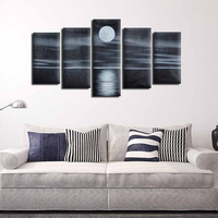 5pcs Hand Paint Oil Painting Canvas Abstract Landscape Sea Moon Night Wall Art