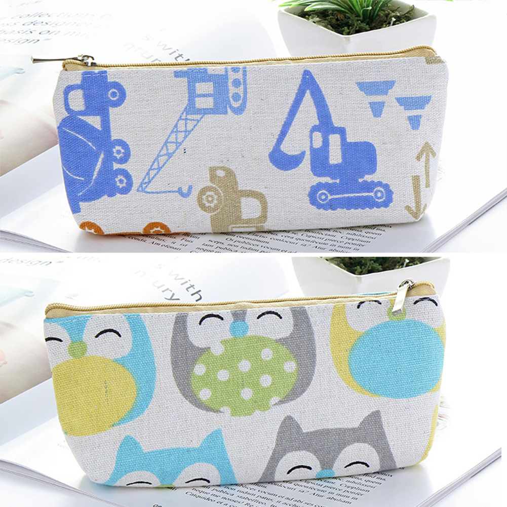Owl Cosmetic Stationery Elephant Student School Office Zipper Pen Bag Brush Car Pencil Case Large Capacity Canvas Cartoon