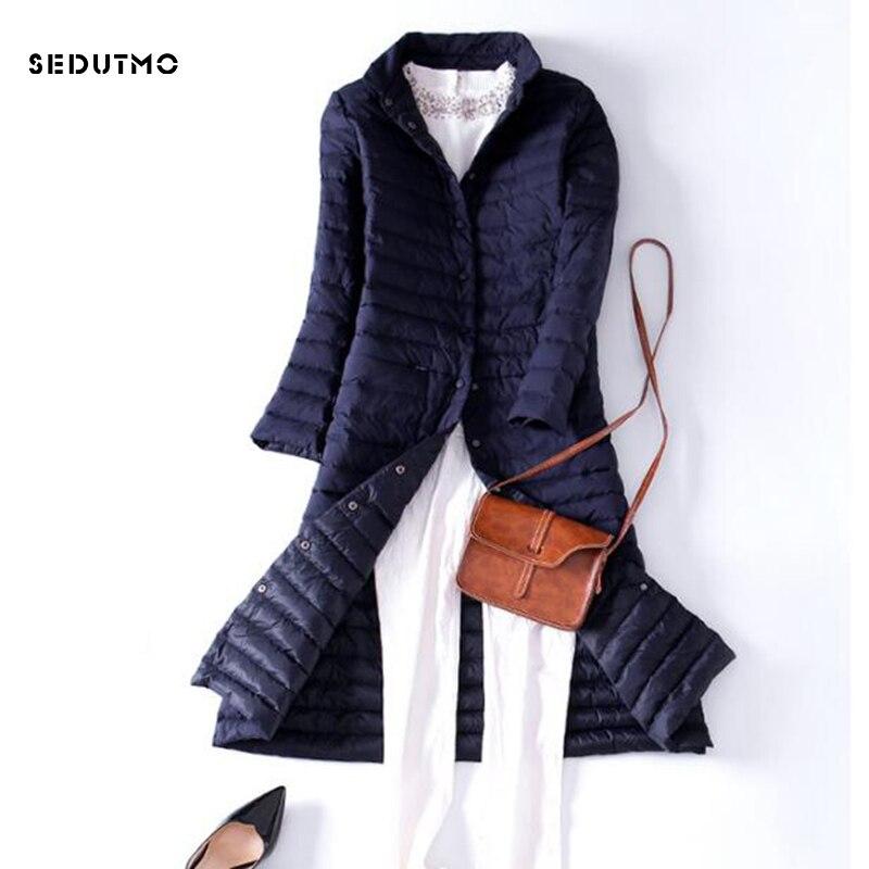 SEDUTMO 2018 Spring Ultra Light Womens Down Jackets Long Duck Down Coat Winter Puffer Jacket Slim Black Parkas ED225