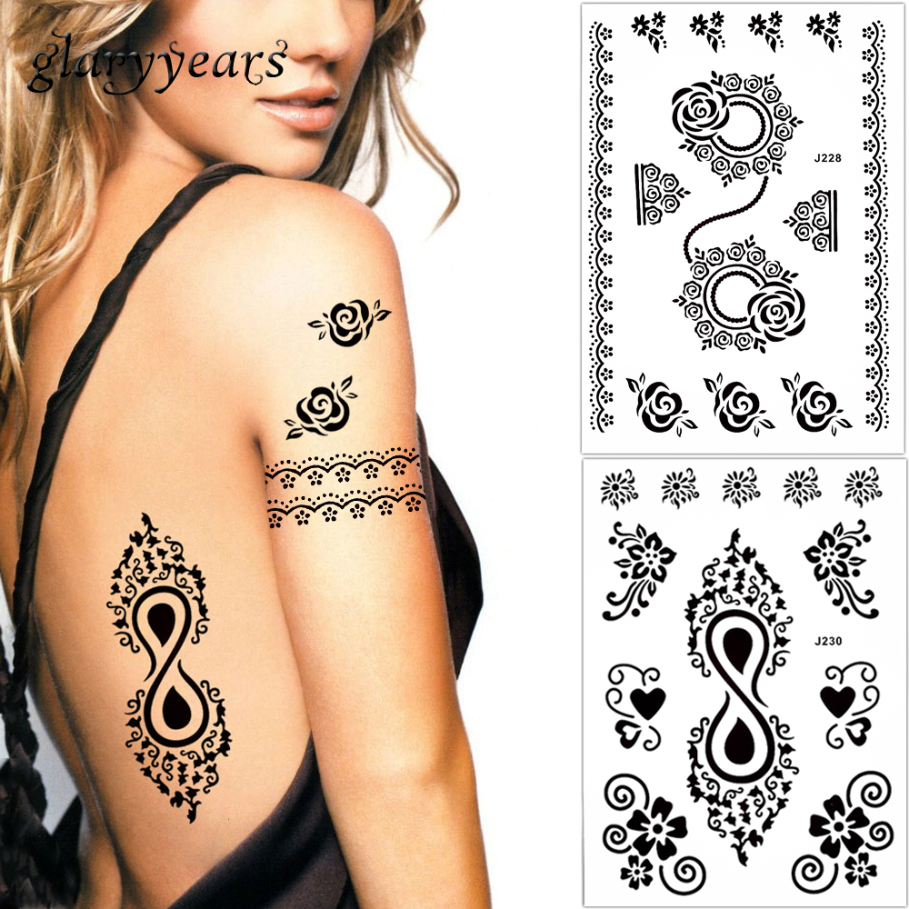 Wolf Dreamcatcher Paisley Lace Tattoos Pictures Tatto Temporary Sticker Hb577 Glaryyears Pieces Lot Fake Black Flower Butterfly Body Tattoo Waterproof Ink Mehndi