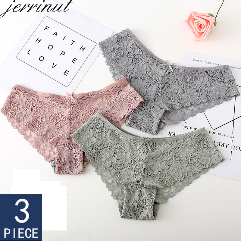 JERRINUT 3pcs Lace Transparent   Panties   Women sexy   Panties   Briefs High Quality Cotton Low Waist Seamless   Panties   Underwear Women