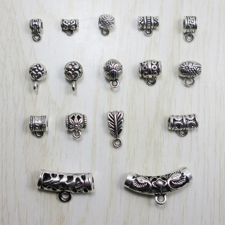 500pcs Pendant Clips Bead Caps Vintage Filigree DIY Jewelry Making Findings Mixed Silver Plated Accessories components