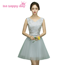 grey girls tulle tank short dress sweet 16 homecoming dresses cheap ball gowns under 100 foral pattern lace applique H4048(China)