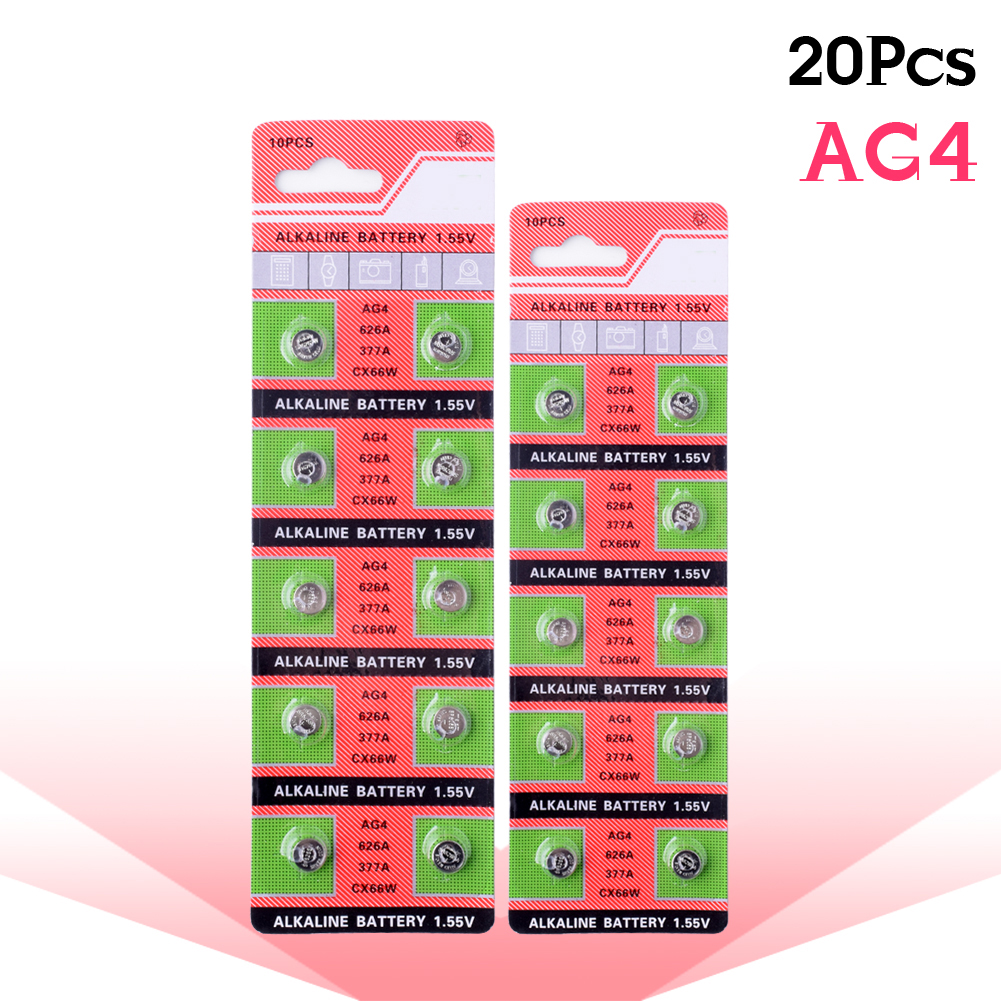 YCDC 20PCS/lot 1.55V AG4 Battery SR626 377 LR626 LR66 SR66 SR626SW 377A Button Cell Watch Coin G4 Batteries For Gadgets Watches accell replacement 1 5v 26mah ag4 lr626 377 sr626 177 button batteries 10 pcs