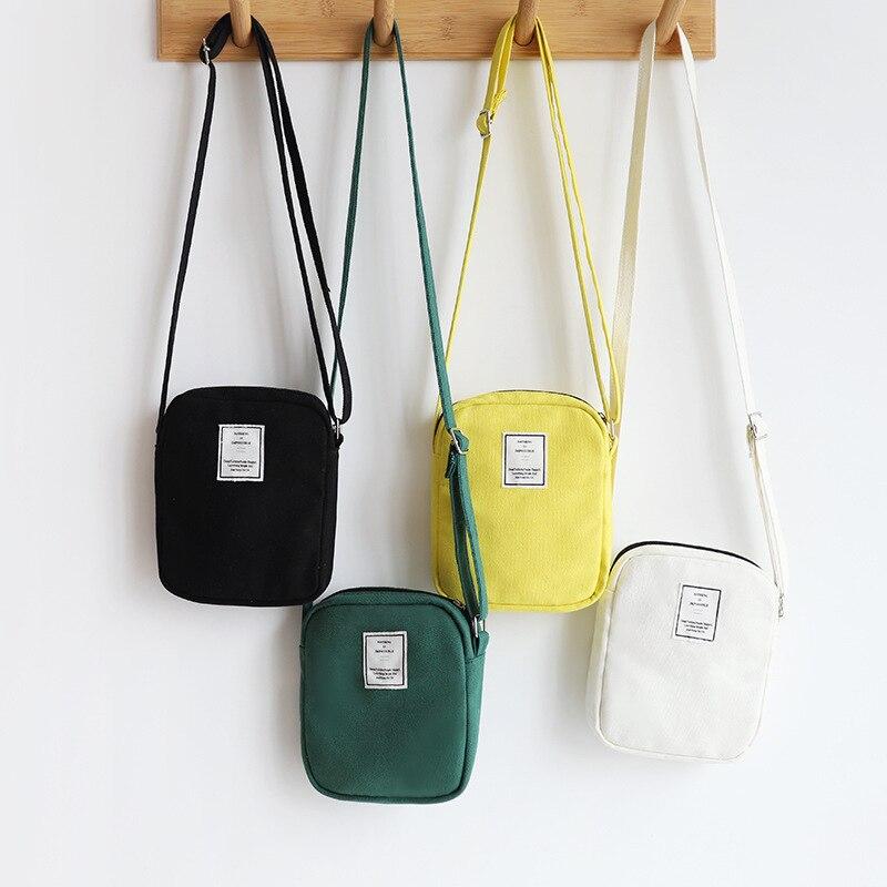 Women's Mini Satchel Canvas Bag Mobile Messenger Bag Small Change Bag Single-Shoulder Bag