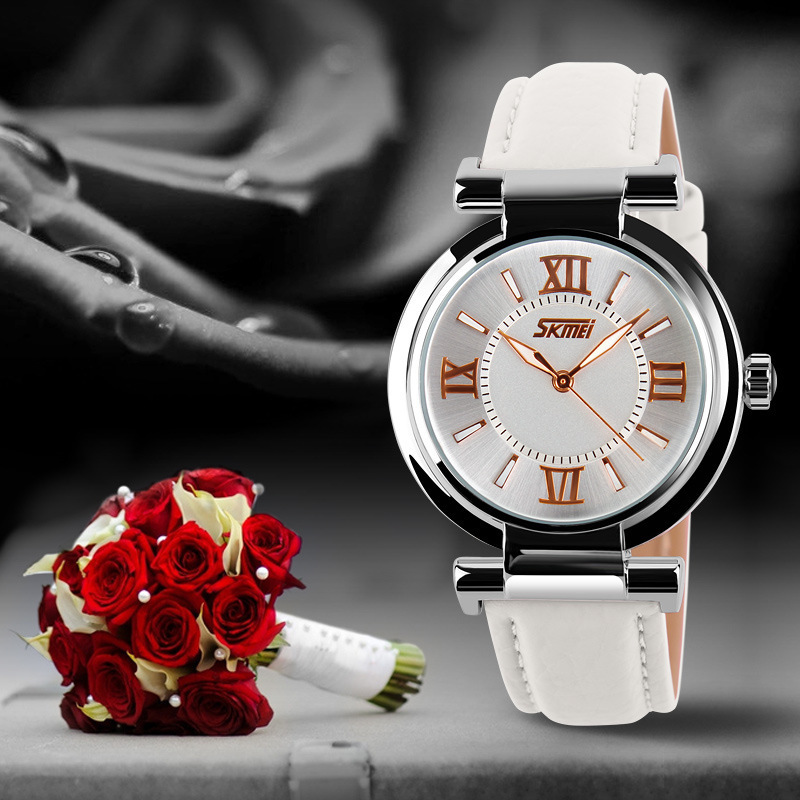 SKMEI Brand Leather Strap Watch Analog Display Women Dress Watch Fashion Casual Quartz Watch Women Wristwatch Reloj Mujer 2016 women vintage watch ladies lace printed analog leather quartz watch women 2016 brand luxury famous wristwatch reloj hombre