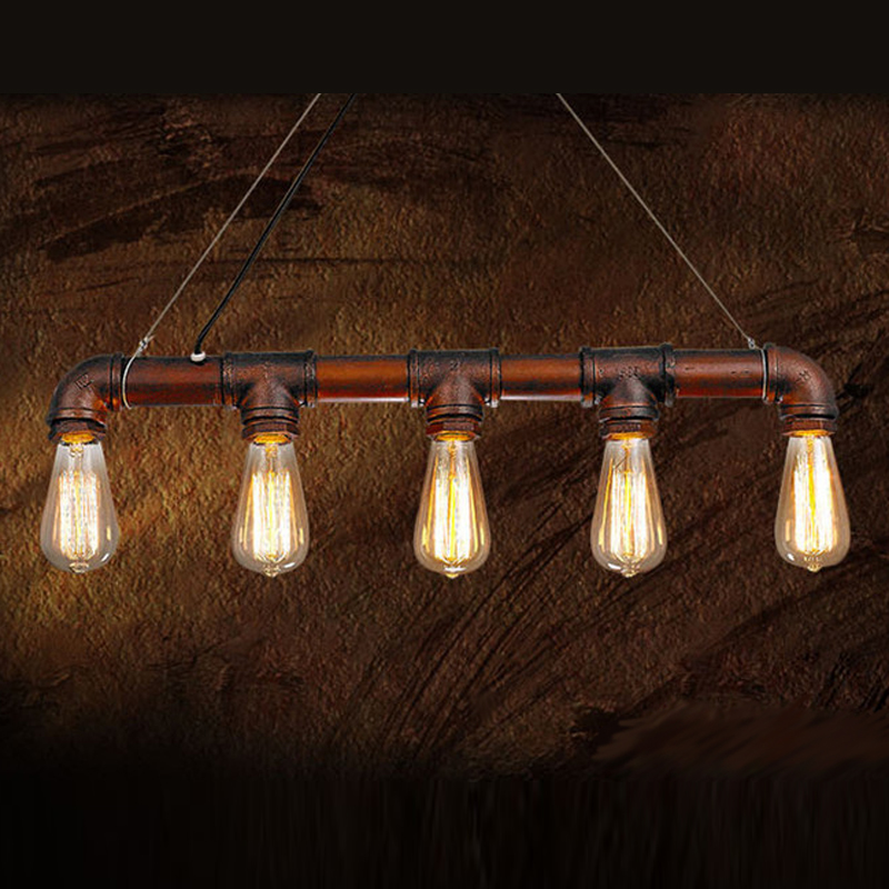 Edison Personalized Vintage Loft Industrial Pulley Water Pipe Pendant Lights Hanging Lamp for Warehouse 5pcs E27 Bulbs vintage pendant lights retro water pipe pendant lamp e27 holder edison bulbs lighting fixture for warehouse diningroom ktv bar