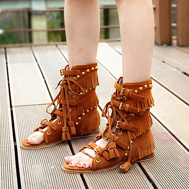 34484d7d39e5 Fashion Suede Leather Gladiator Sandals Women Rome Lace Up Flats Dress Shoes  Woman Summer New Short