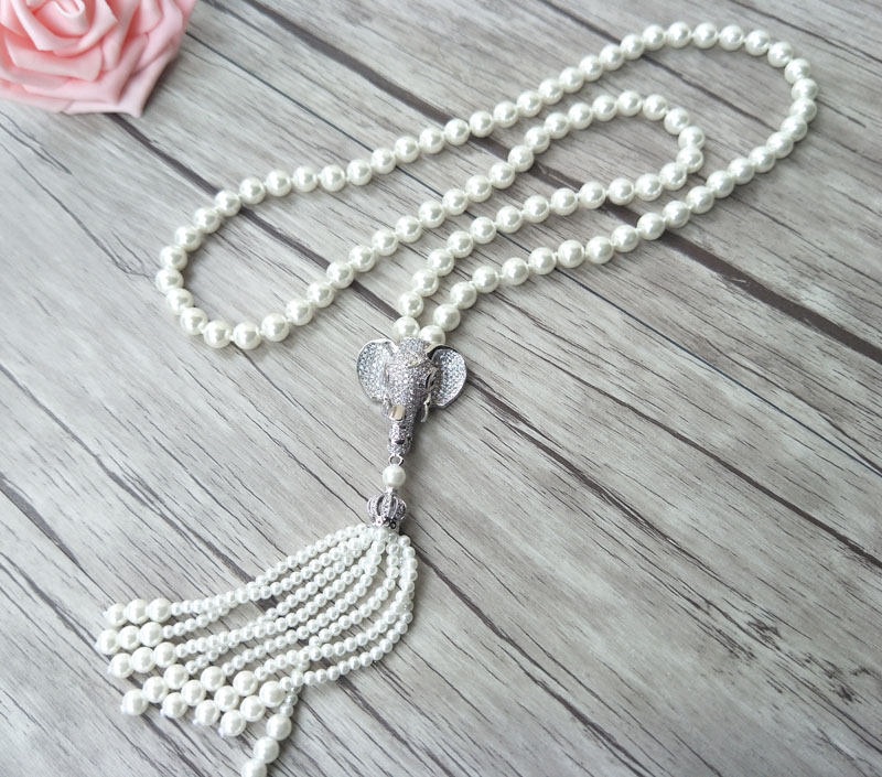 Image 3 - Elephant head charm Pendant CZ zircon crystal Micro pave  Connector,Natural Shell Pearl Beads Chain tassels Women Necklace  NK220women necklacechain tasselmicro pave