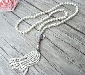 Image 3 - Elephant head charm Pendant CZ zircon crystal Micro pave Connector,Natural Shell Pearl Beads Chain tassels Women Necklace NK220