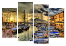 4 Panle Venice seascape Home Decor Picture Printed Custom Made Painting Canvas Print Room Poster