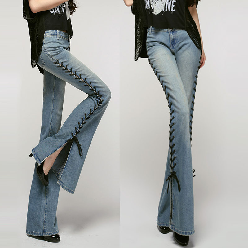 6dfdc31710deb5 Spring Fall Designer Womens Fashion Rope Stretch Big Bell Bottom Jeans ,  Female Elastic Flare Denim Trousers , Woman Jean Pants