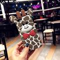 Cartoons giraffe leopard grain for iPhone 6 6S Phone Case soft shell bowknot 7 7plus protection Silicone Case