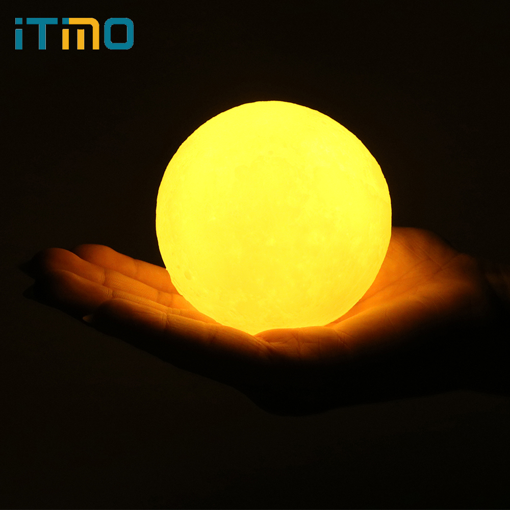 ITimo Rechargeable USB LED Night Light Touch Switch With Wood Holder Creative Gift Moon Lamp Home Decor 3D Moon Light 8CM