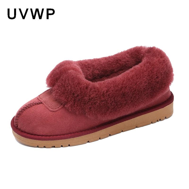 Nouveau Top qualité femmes mode bottes de neige en peau de mouton véritable femmes bottes chaud laine hiver chaussures 100% fourrure naturelle bottines-in Bottes de neige from Chaussures    1
