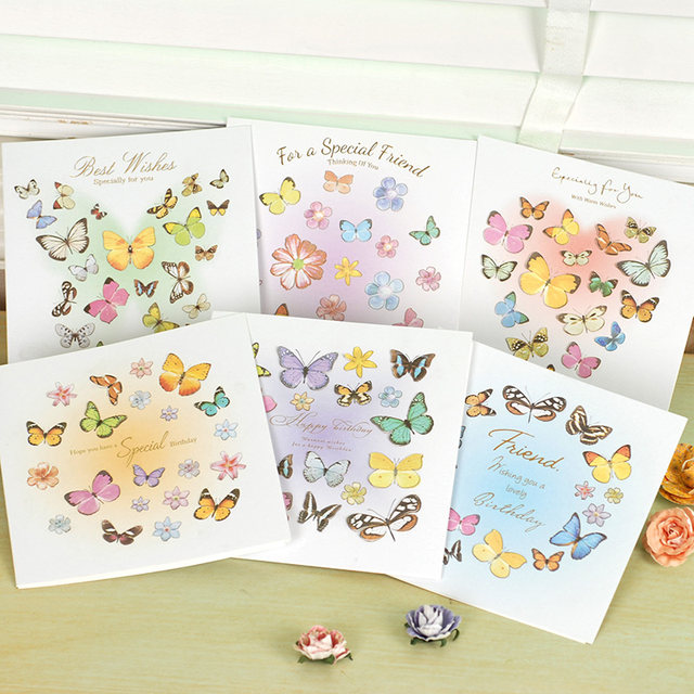 Online shop 6 sets of beautiful laser cut 3d butterflies cards for 6 sets of beautiful laser cut 3d butterflies cards for birthday friendshipcreative square 3d greeting cards m4hsunfo