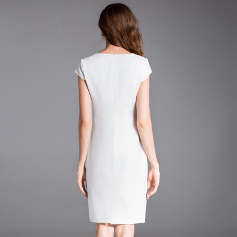 Robe Sexy Supérieure Blanc La Élégant Femmes Broderie Printemps Qualité Plus Office Robes Été Taille Color Partie Picture Crayon 2018 Lady 5wXxRB