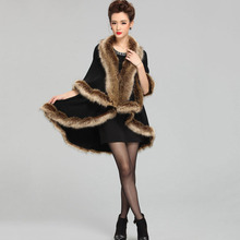 2016 New Winter Faux Fake Fur Vests for women raccoon fur collar overcoat capes Fashion Warm Plus Size Vest Jacket Coat shawls