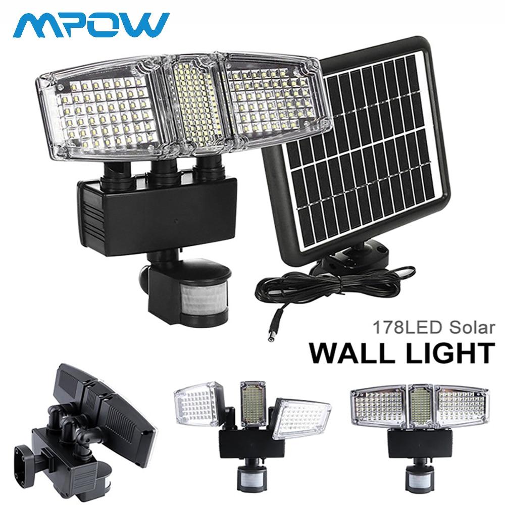 Mpow 178 LED Solar Wall Light 3 Heads Solar Waterproof Motion Sensor Light Super Bright Garden Security Outdoor LED Flood Light