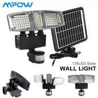 Mpow 178 LED luz de pared Solar 3 cabezas Solar impermeable Sensor de movimiento luz Super brillante jardín Seguridad Exterior LED inundación luz