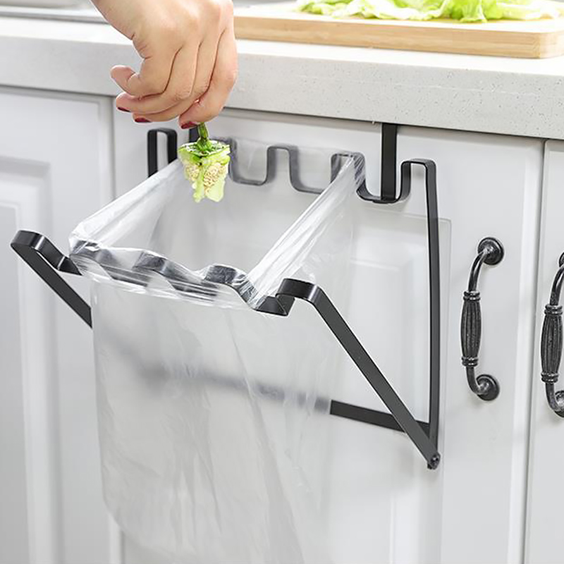 Kitchen Rubbish Bag Storage Garbage Cabinet Stand Organizer Hanger Garbage Bag Folding Storage Holder Racks Hanging Container