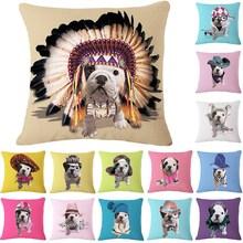 1 Pcs Bulldog Dog Pattern Cotton Linen Throw Pillow Cushion Cover Seat Car Home Sofa Bed Decorative Pillowcase funda cojin 40157