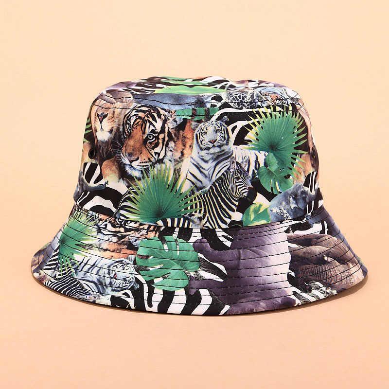 2019 çift taraflı Graffiti poker, hayvanlar düz üst havza şapka yaz kaçamakları gölge balıkçı şapka kadınlar ve erkekler için Panama kap