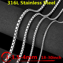 Steel Jewelry 3/3.5/4mm chain 316l Stainless Steel Chain Necklace men's fashion silver gold black Necklace Hip Hop women Jewelry magnetic necklace for women men gold black silver color 316l stainless steel necklace magnets jewelry power health unisex gift