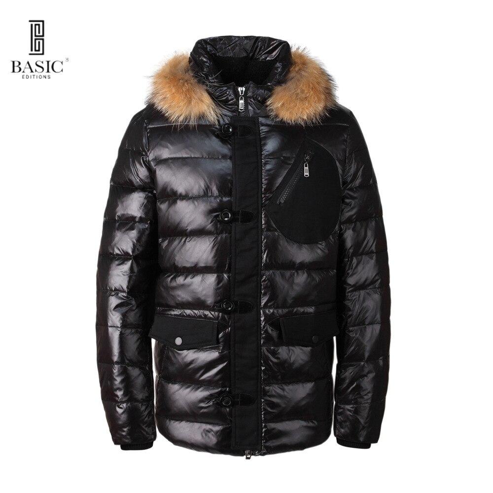 Basic-издания Для мужчин; зимнее пуховое пальто Повседневное Мех животных капюшон Куртки-bc1-065y