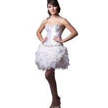 2016 Sexy Schnelle Verschiffen Weiße Feder Kleid Perlen Ballkleid Liebsten Kurz Mini Abendkleid Zum Party Robe de Cocktail