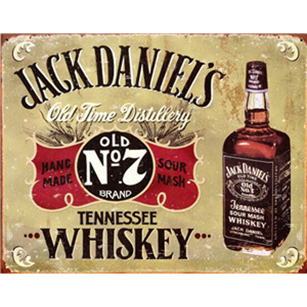 Jack Daniels Tennessee Whiskey METAL TIN Pin Up SIGN Home Wall Decor bar Plaque