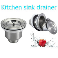 Stainless Steel Kitchen Sink Water Drainage Xiancai Basins Basket Fell Down Single And Double Tank Drain
