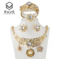 BAUS Fashion Dubai Jewelry Set Saudi Arabia Bridal Gift Nigeria Jewelry African Pearl Crystal Gold Jewelry