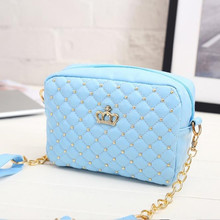 2017 Women Bag Fashion Women Messenger Bags Rivet Chain Shoulder Bag High Quality PU Leather Crossbody Quiled Crown bags