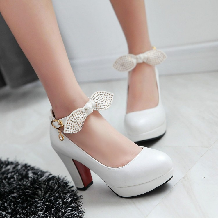 ФОТО White Pink platform shoes women shoes high heel pumps bow wedding shoes sy-1747