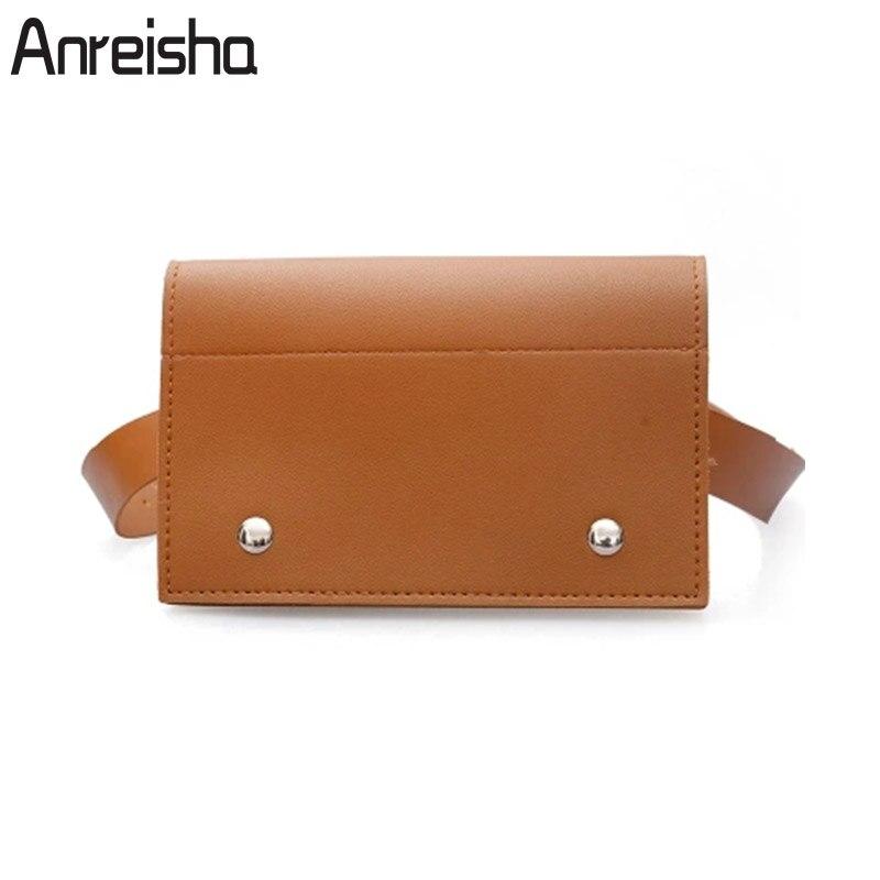 Anreisha 2018 nouvelle marque Designer taille sacs pour femmes femme Vintage PU cuir Fanny sac Pack ceinture sacs passeport téléphone sac zm80