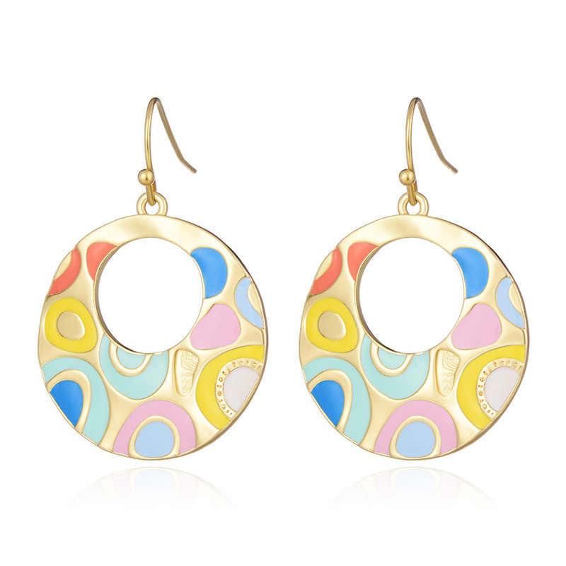 Enamel Drop Earrings For Women Gold Silver Color Alloy Ethnic Female Dangle Hanging Earring Fashion Ear Jewelry Brincos 2019