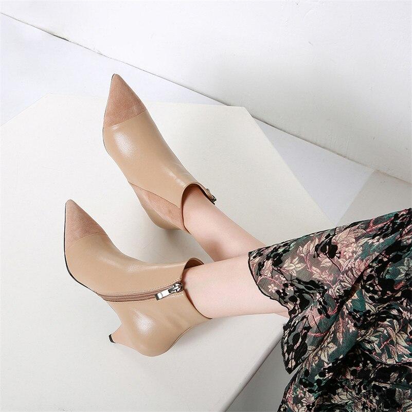 Cuero Conasco Genuino Zapatos Mujer Moda Martin Tacón Conciso H5wrHq