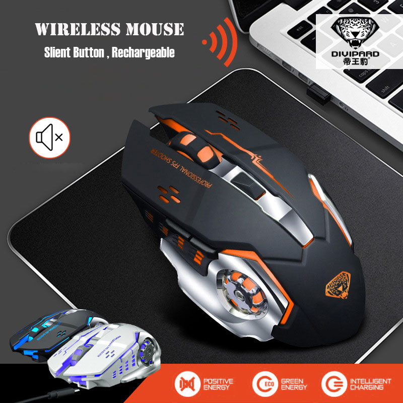 IceRay Rechargeable Wireless Mouse Slient Mute Click Computer Gaming Built-in Battery with Charging Cable For PC Laptop rechargeable wireless mouse 2 4g 2400 dpi slient button gaming mouse built in battery with charging cable for pc laptop computer