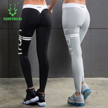 2017 New Vansydical Compresssion Running Tights Letter Print Sport Leggings Women Fitness Workout Gym female yoga pants S-XL